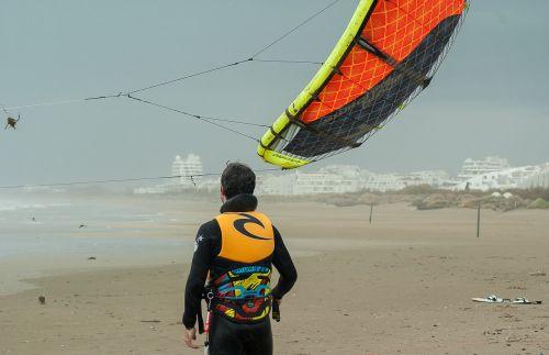 kite surfing beach wing