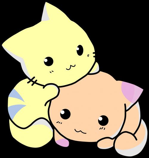 kitties cartoon snuggle
