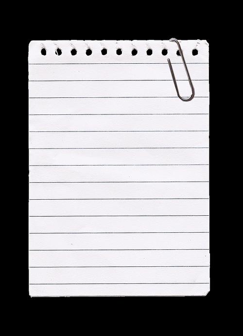 kladblaadje  paper clip  to write