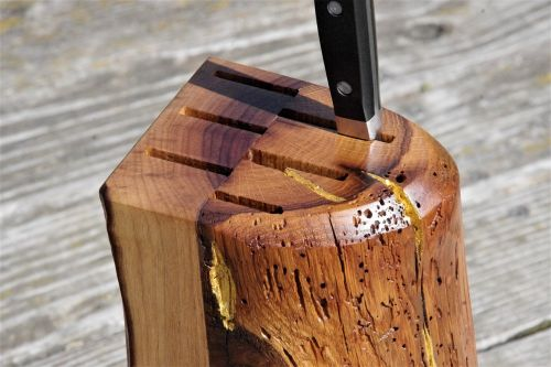 knife block wood noble