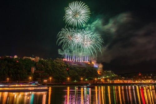 koblenz  fireworks  ehrenbreitstein