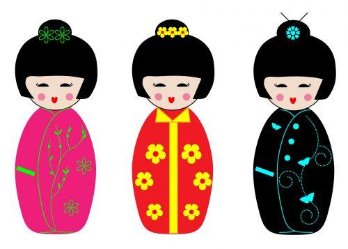 Kokeshi Dolls Clipart
