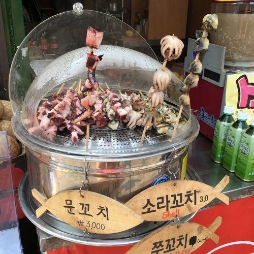 korea baby octopus street food