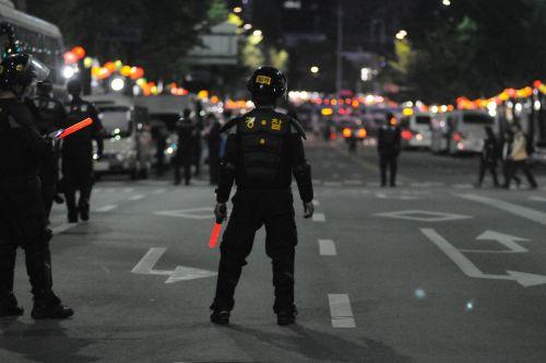 republic of korea riot police protest