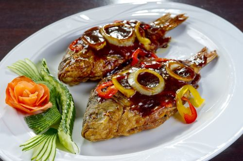 korean food fried crucian carp national cuisine