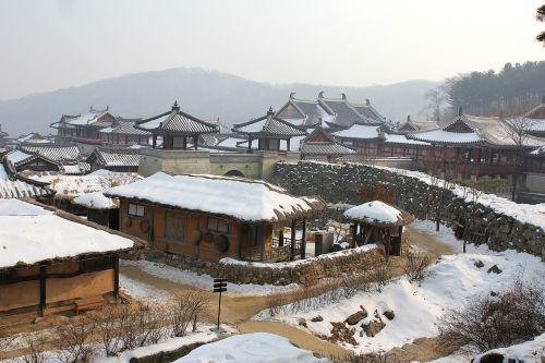 korean village snow traditional village korea