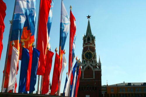 siena, kremlius, bokštas, vėliavos, spalvos, kremlius, spasskaya bokštas ir vėliavos