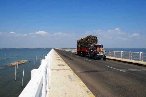 krishna river bridge tractor