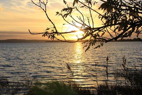 kummerower lake  mecklenburg western pomerania  sunset