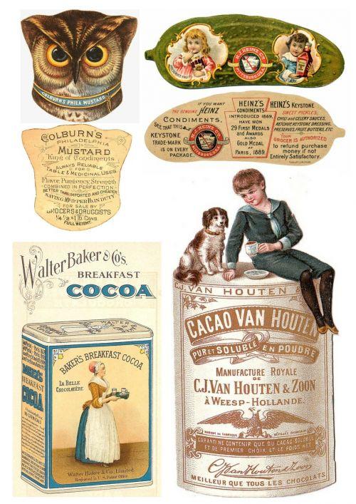 labels vintage food