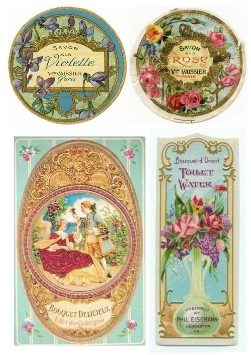 labels vintage toiletries