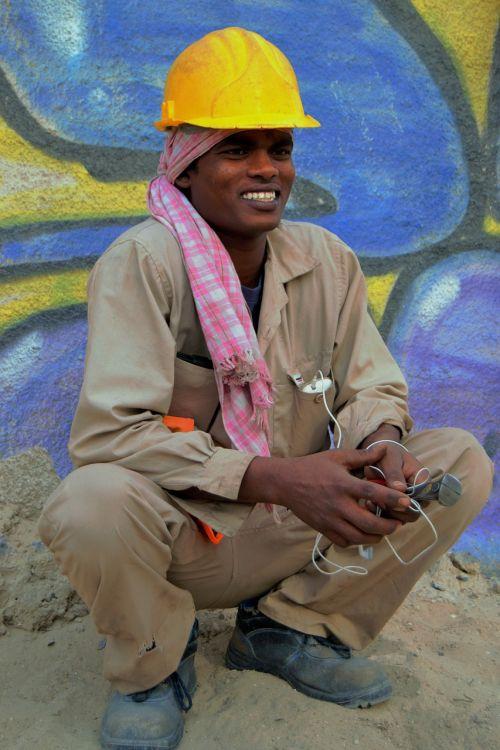 laborer happy smile