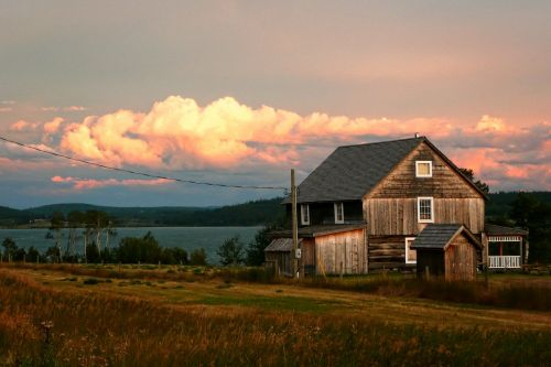 lac la hache,lake,heritage,sunset,thunderstorm,cariboo,british columbia,canada,building,house,old
