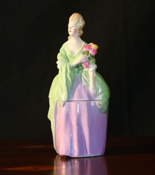 ladies powder jar vanity display porcelain