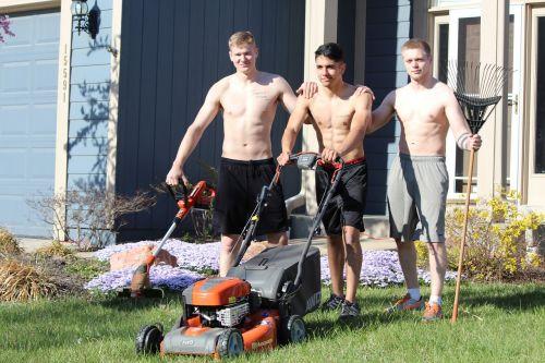 lads mowing shirtless