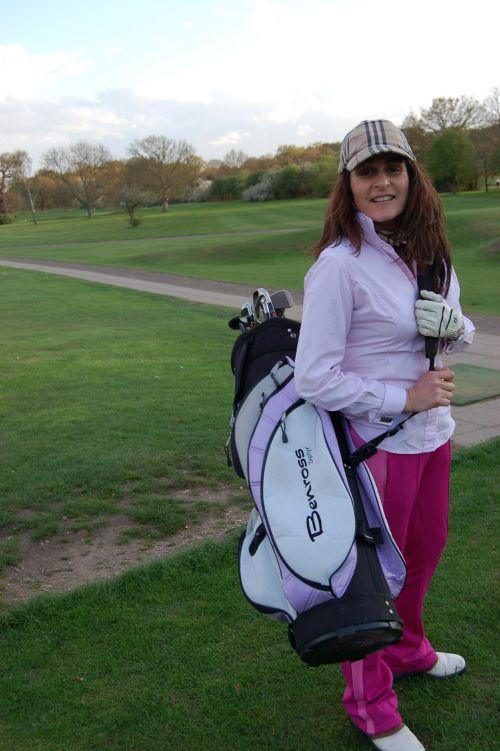 rožinis, golfas, Lady, ponios & nbsp, golfas, Sportas, moterys, Lady golfo žaidėjas ir krepšys