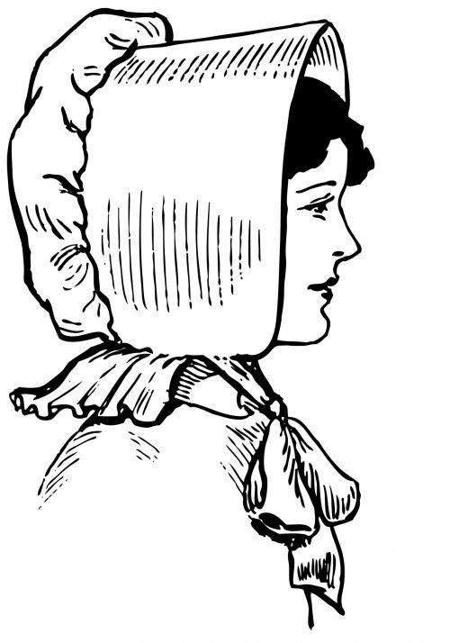 Lady In Bonnet Illustration