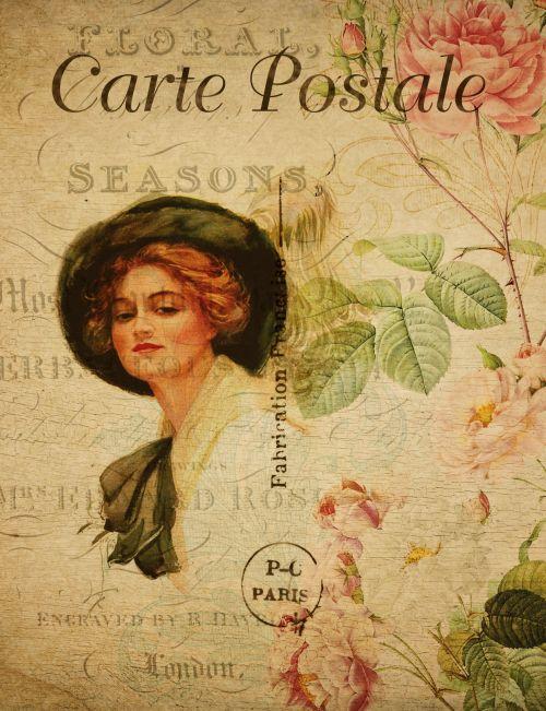Lady On Vintage Postcard