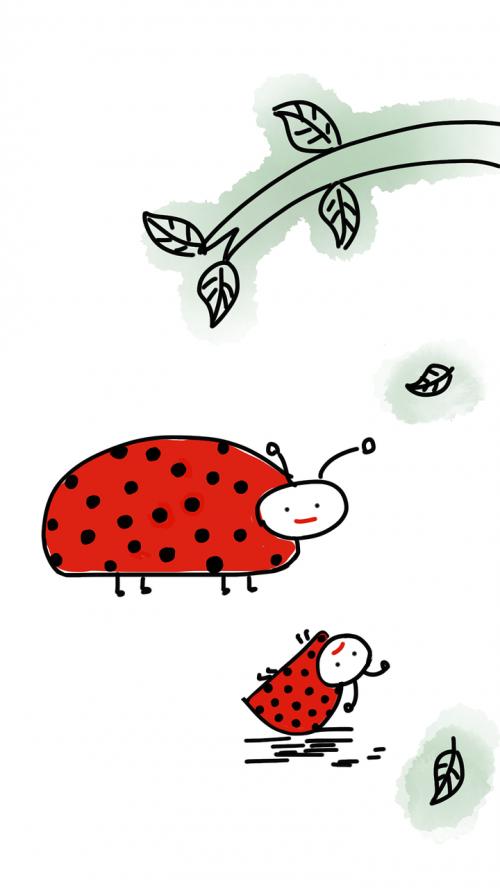 ladybug tree leaves