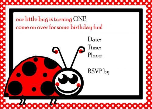 Ladybug 1st Birthday Invite