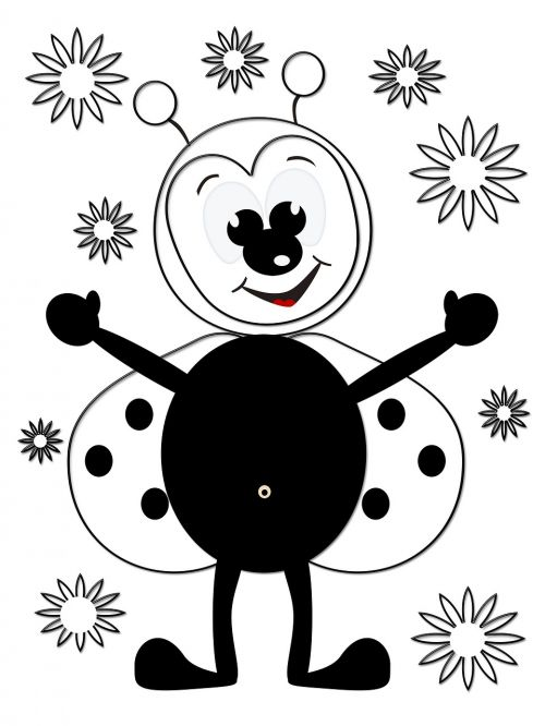 ladybug flowers coloring picture