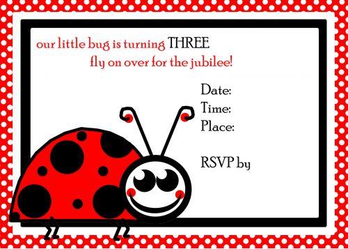 Ladybug 3rd Birthday Invite