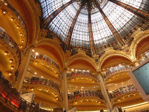 lafayete galerija, galerija, lubų, kupolas, Paryžius, Lafayette galerijos, Prancūzija
