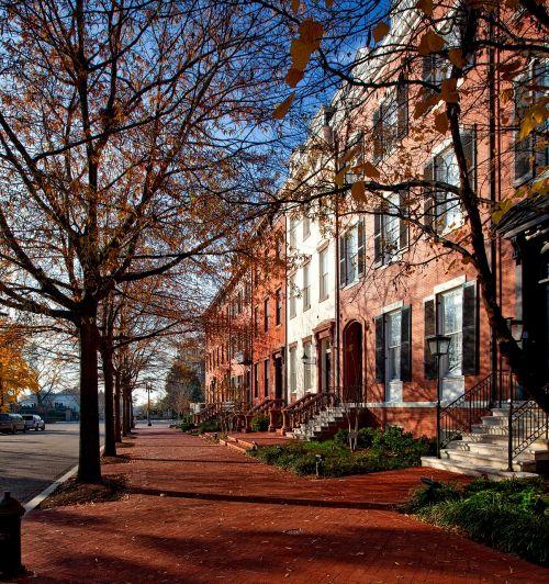 Lafayette parkas,Vašingtonas,c,architektūra,istorinis,namai,namai,raudoni akmenys,eiliniai namai,dangas,šaligatvis,upscale,orientyrai,hdr,kritimas,ruduo,medžiai