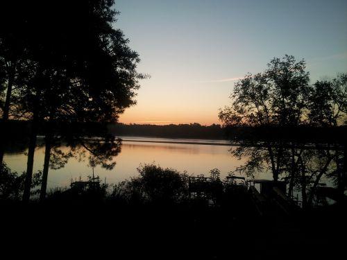 lake trees silhouette
