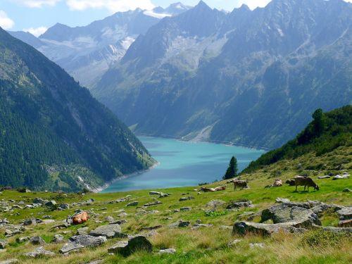 lake mountains reservoir