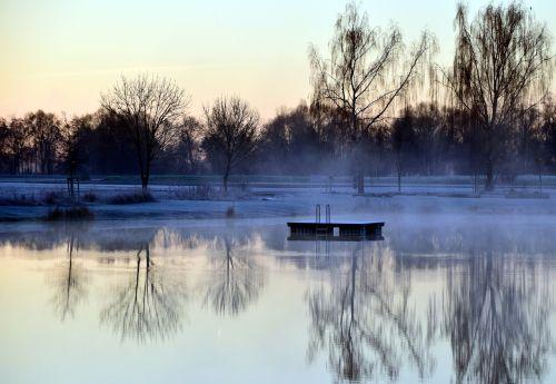 lake winter fog