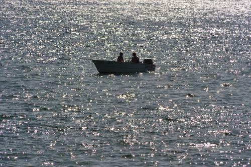 ežeras,vakaras,vienas,saulėlydis,abendstimmung,vanduo,žvejys,boot,vandens atspindys