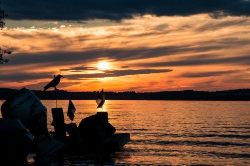 lake sunset clouds