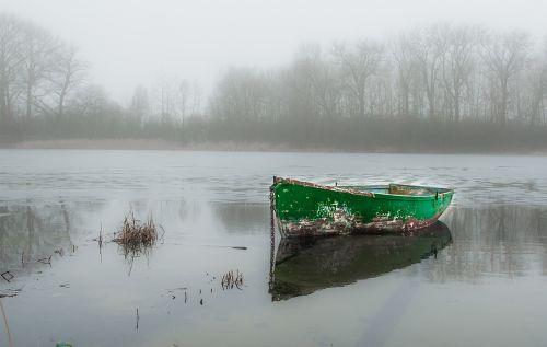 lake boat winter