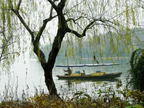 ežeras,ežeras,peizažas,gražus,kelionė,turistinis,šaltas,žiema,vakarinis ežeras,xi hu,valtis,vyras,medis,Hangzhou,Kinija