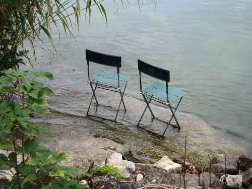 lake two chairs togetherness