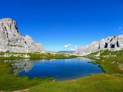 ežeras,Bergsee,kraštovaizdis,gamta,South Tyrol,kalninis ežeras,Alpių,Alpių ežeras,kalnai,dangus