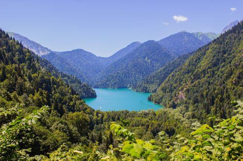 lake abkhazia mountains