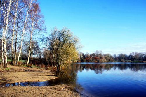 ežeras, vörder šalis, Bremervörde, Vörder ežeras, maudymosi vieta, Moorland, beržas, ruduo, Indiška vasara, atmosfera, ežeras, veidrodis, atspindys, be honoraro mokesčio