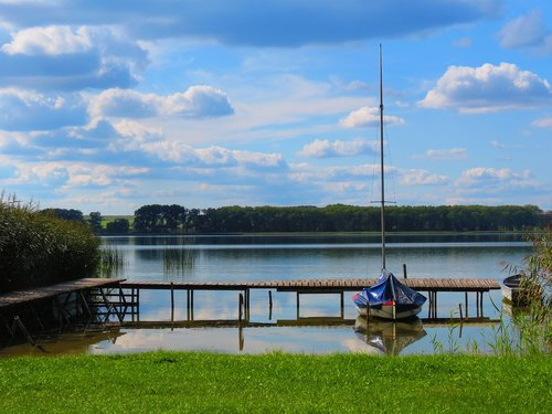 lake  boat  sky