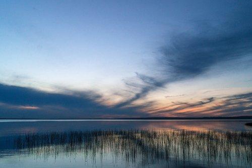 lake  sky  evening