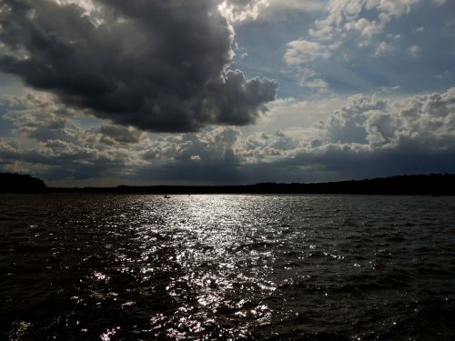 lake water dark clouds