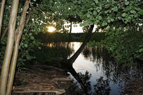 lake sunset mecklenburgische seenplatte