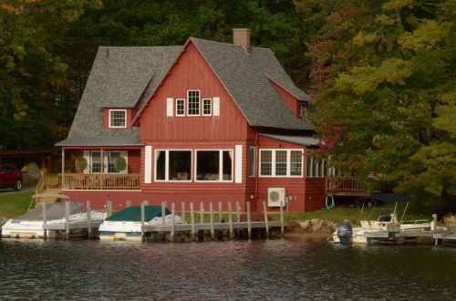 country house wooden house lake