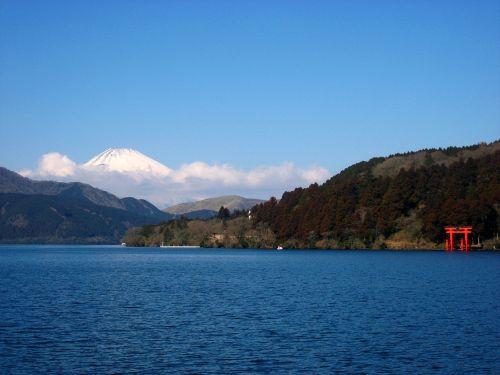 lake ashi mt fuji torii