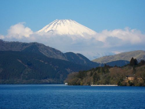 lake ashi mt fuji kanagawa japan