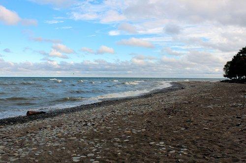 lake erie  waves  beach