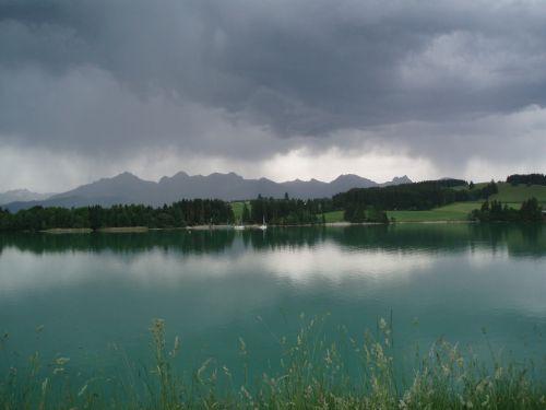 lake forggensee storm summer