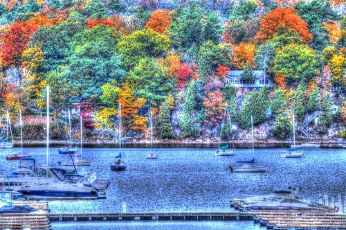ežeras, vanduo, kritimas, ruduo, lapija, uostas, uostas, sezonas, sezoninis, valtys, nauja & nbsp, Anglija, Vermont, ežeras & nbsp, champlain, malletos & nbsp, įlankoje, meno, hdr, spalvinga, kalvos, medžiai, ežeras rudenį