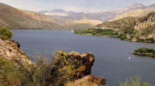 dykuma, ežeras, vanduo, gamta, kraštovaizdis, Arizona, kalnai, ežero kraštovaizdis